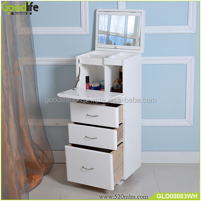 Mirrored Wooden Storage Cabinet For Makeup In Bedroom - Buy Mirrored ...