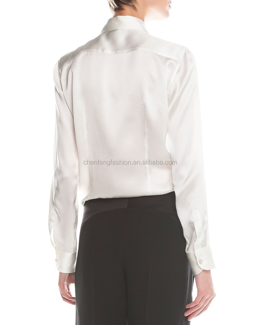White Satin Blouse Long Sleeve 38