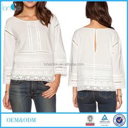 Wholesale Ladies Back hook closure White Long Sleeve Fashion Tops