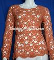 ronda de manga larga de cuello de ganchillo suéter tejido a mano