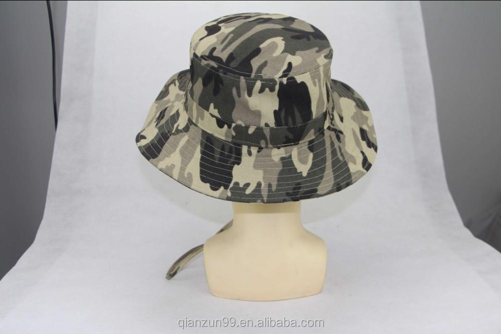 Wholesale camo custom bucket hat with string bucket cap for Flat bill fishing hats