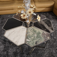 stainless steel marble top coffee table, shape changeable