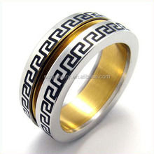 Two Tone Stainless Steel Hip Hop Jesus Rings with Lethers for Men Religious Unique Jewelry