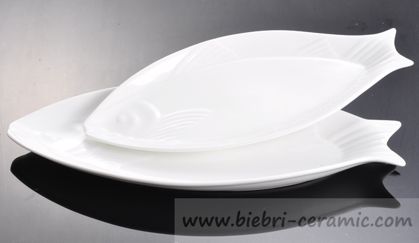 Super white oval shaped customized design ceramic for Fish shaped plates