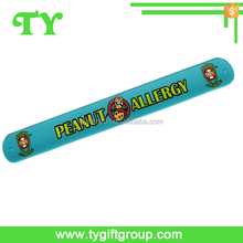 wide silicone slap band with screen print logo