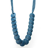 7 Summer Colors Selection- Navy Thin Round Plastic Beads Necklace For Women