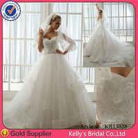 Zhong shan make big ball organza gown Free veil detachable belt wedding dresses 2014