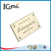 Screw type handbag engraved metal company logo plate