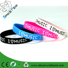 custom logo silicone wristband cheap print rubber wristband imprint I love music silicone wristband