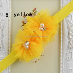 Tulle Lace Mesh Flower Rhinestone Pearl Center Flower Headbands Baby Girl Head Infant Headband Wholesale