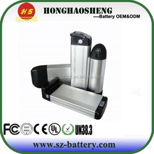 rechargeable electric bicycle lifepo4 36v 10ah silver fish battery