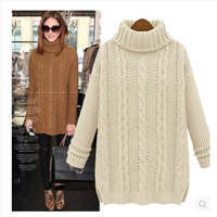 Big Promotions! High collar women fashion sweater pullover women sweater loose fashionable custom design woollen sweater