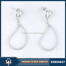 2015 new product water shape AAA zircon 925 silver earrings jewelry fashion