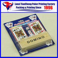 High Quality Custom Double blister poker sets card K, 6 dice and DOMINO customized paper playing card printing
