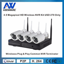 No-setting WIFI NVR Wireless Camera System H.264 Four in One Kit AW-K9504L-W