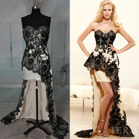 JM.Bridals CQ110 Stylish black lace special occasions short long tail prom dresses made in china