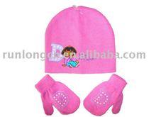 Invierno de los cabritos de acrílico de punto set sombrero y guantes