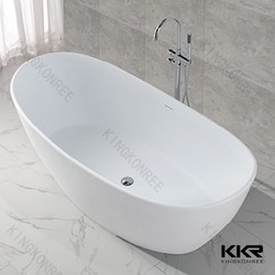 Bowl shape resin stone two person freestanding bathtub