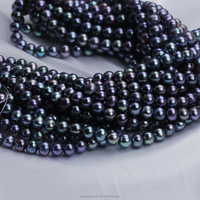 9mm AA grade off round shape dyed black peacock real natural loose pearl beads