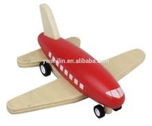 2015 nuevo diseño de juguetes de madera de madera de color rojo avión boeing para los niños