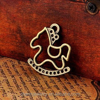 100PS/LOT Retro rocking horse charm DIY jewelry accessories material, brass charms metal pendants for jewelry making PJ007