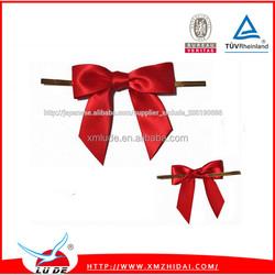 2015 wholesale satin twist tie gift packing ribbon bows/Gift packing ribbon bow made of satin ribbon