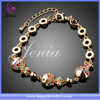 Fish shaped bracelet 18k gold plated with crystal good quality wholesale bracelet charms (PH004)