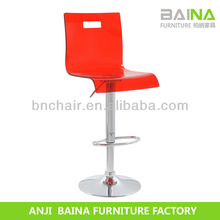 Acrylic red plastic kitchen breakfast bar stool