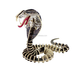 Snake coated colorful paper 3D wooden puzzle toy