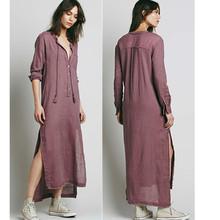 Fashion high low cotton maxi dress design for Muslim, woman frock dress