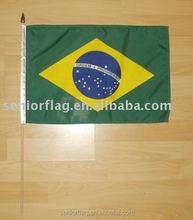 Poliéster bandeira mão vara mão bandeira do brasil