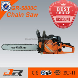 high quality gasoline 58cc chainsaw 5800/ chain saw 5800