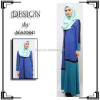 High quality fashion contrast colour muslim modern abaya