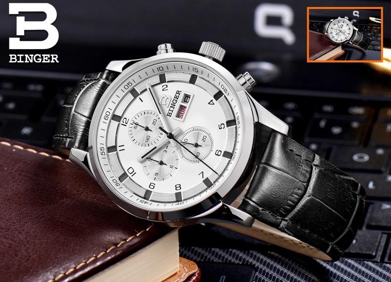 Мода 2016 марка Бингер высокое качество роскошный Оптовая Розничная Хронограф Оригинальный коробка Удостоверения Наручные Часы Белый
