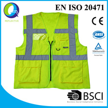 With 9 year experience factory direct sale Hi Vis reflective Safety Vest with pocket and zipper