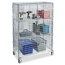 Mobile wire shelving security cart,wire rolling storage cage