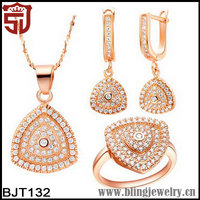 Amazon Zircon Paved True Rose Gold Plated Triangle Jewelry Sets