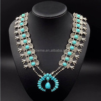alibaba express factory sole design squash blossom jewelry amazing Pumpkin flowers necklace turquoise flower necklace