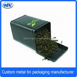 Hinged square tea tin for green tea metal loose tea leaf tin container