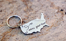 State Keychain USA Keychain Best Friends Long Distance Relationship Gift Personalized Message Metal Keychain