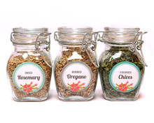clear glass herb jars with metal clip
