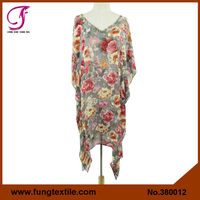 380012 Designer Silk Chiffon Printed Resort Wear Beach Wear Kaftan Dress Poncho Top Cover up ,Silk Kaftan
