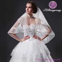 ZD11 Bridal Accessories 2T Polyester Appliqed Short White Wedding Veils with Ribbon Edged
