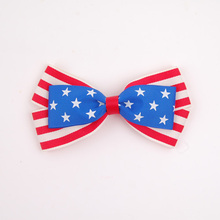 Professional Factory directly wholesale new arrival hot America flag hair bow with elastic band