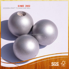 Silver Finish Handmade Wooden Beads for Bead Stores, Bead Crafts, Art and Crafts