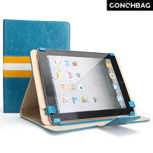 Split joint stripes pattern metal protective leather case for ipad air