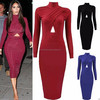 Celebrity Kim Style Long Sleeve Cross Over Bodycon Midi Dress