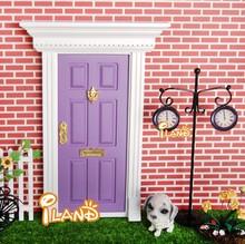 Doll house Wood Fairy Door Painted mini Exterior Door W/ Hardware Open Outward Purple OA011D-1