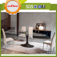 Modern oval glass top dining table for dining furniture