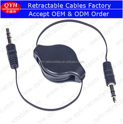 2015 best selling QYH retractable 3.5mm male to male audio stereo cable